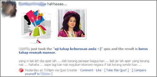 Rosmah Mansor on Facebook