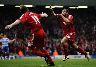 Javier Mascherano of Liverpool celebrates scoring