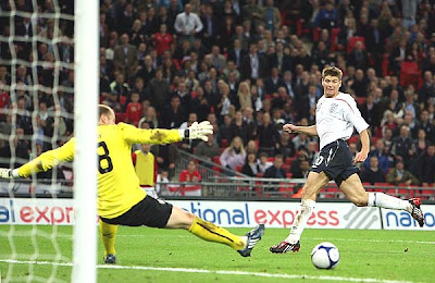 Steven Gerrard of England scores the second goal against the United States.