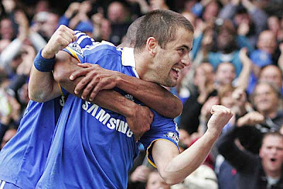 Chelsea's Joe Cole celebrates after scoring the opener against Aston Villa.
