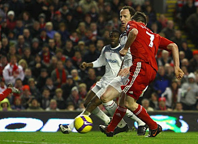 Robbie Keane of Liverpool scores his second goal of the match to hand Liverpool a 3-0 win over Bolton.