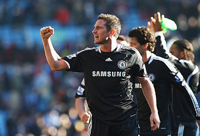 Frank Lampard of Chelsea celebrates their 1-0 victory over Aston Villa. The only goal was scored by Nicolas Anelka.