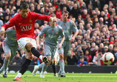 Cristiano Ronaldo fires Manchester United in front against Liverpool from the penalty spot