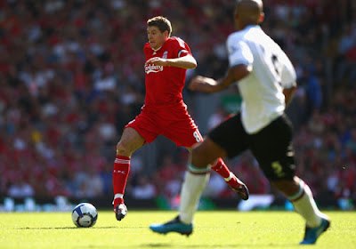 Steven Gerrard of Liverpool in action