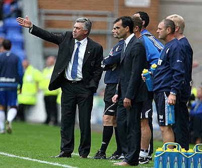 Carlo Ancelotti of Chelsea during their 3-1 loss to Wigan.