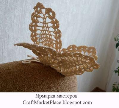 Вязаные сувениры, вязаная бабочка, вязаная прихватка
