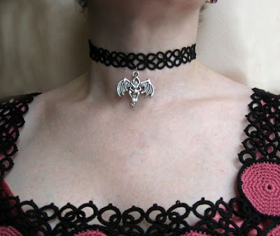 tatting, frivolite, choker