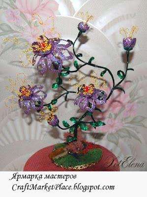 бисерцветы, цветы бисер деревья, плетение бисером цветов, цветы бисер паетки, бисер деревья, плетение бисером деревьев, Елена Хотулёва