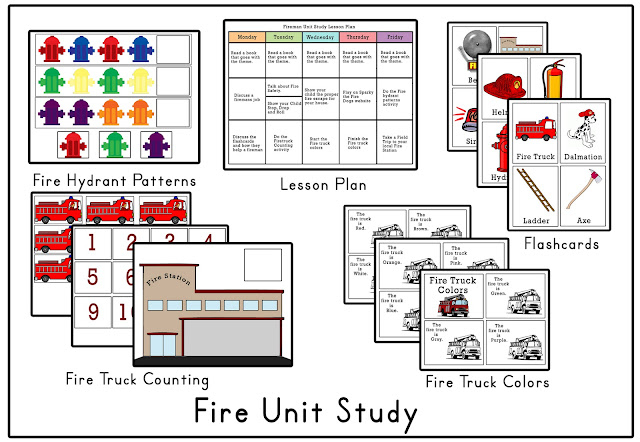 Firefighter Preschool Worksheets http://mamasmonkeys.blogspot.com/2011/09/firefighter-tot-pack.html