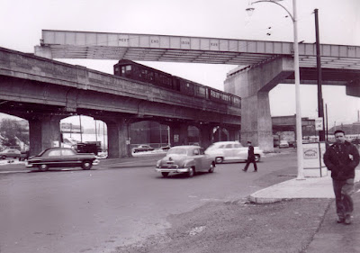 Casey Overpass being built over the old elevated Orange line