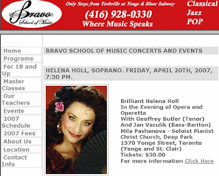 Bravo School of Music Concerts and Events: Helena Holl, Soprano, April 20th, 2007, Toronto, Canada