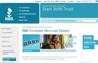 Screenshot: BBB Consumer News and Opinion (blog)