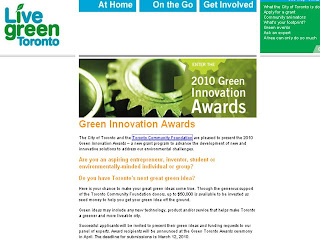 Screenshot: Toronto 2010 Green Innovation Awards