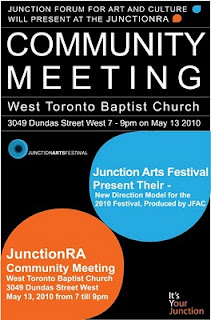 Poster: Junction Residents Association Community Meeting May 13, 2010: Junction Forum for Art and Culture Junction Arts Festival present New Direction Model for the 2010 Festival