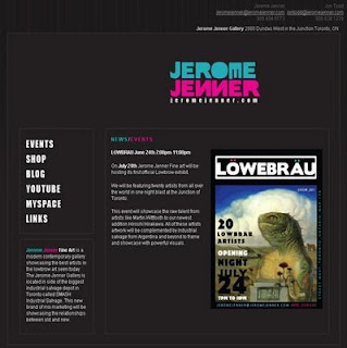 Jerome Jenner Fine Art hosts first LOWBROW exhibit July 24, 2008 at SMASH, 2880 Dundas Street West, the Toronto Junction