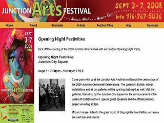 Toronto Junction Arts Festival 2008: Opening Night, September 3, by artjunction.blogspot.com