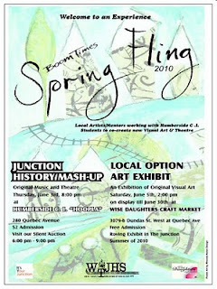 Poster: Boom Times Spring Fling: Toronto Junction community driven art project at Humberside HOOPLA June 3, 2010