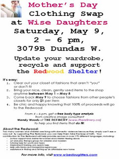 Flyer: Wise Daughters Art and Craft Market in the West Toronto Junction Clothing Swap 2009