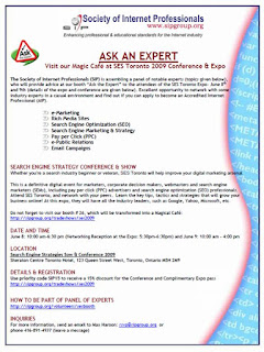 Flyer: Ask an Expert, Visit SIP's Magic Café at SES Toronto 2009 Conference and Show