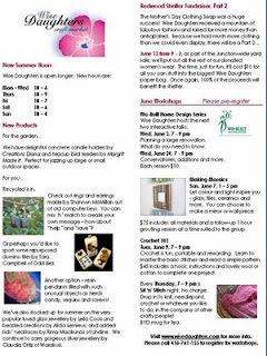 Screenshot: West Toronto Junction Wise Daughters Craft Market Newsletter: News and Workshops, June 2009