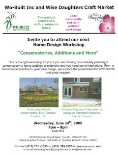 Flyer: Wo-Built Inc. and Wise Daughters Home Design Workshop: Planning Conservatory or Addition or Extension: What do you need to know