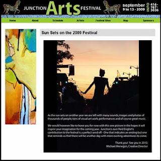 Screenshot: 2009 Junction Arts Festival Web-site: Sun Sets on the 2009 Festival