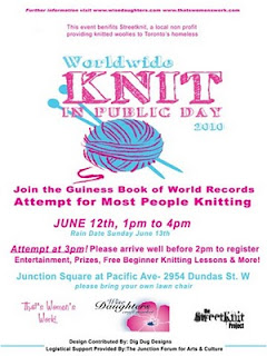 Poster: Worldwide Knit in Public Day 2010, Guinness Book of World Records Attempt for Most People Knitting June 12, 2010, Toronto Junction, Canada