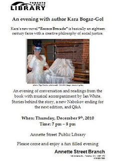 Rococo Brocade Book by Kara Bogaz-Gol Reading at the Annette Street Public Library, Toronto, December 9, 2010, by artjunction