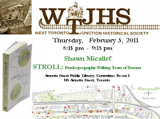 Poster: Shawn Micallef Talks about Stroll: Psychogeographic Walking Tours of Toronto, February 3 at Junction Historical Society Meeting, by artjunction.blogspot.com