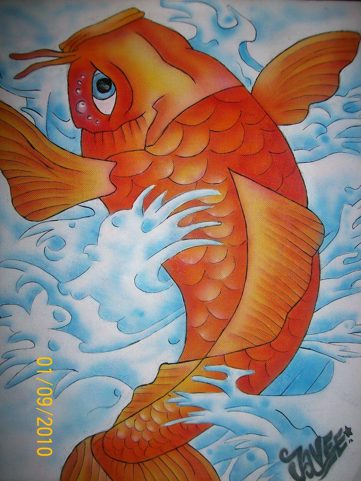 Javee aerografia pintura de pez koi for Pintura para estanques de peces