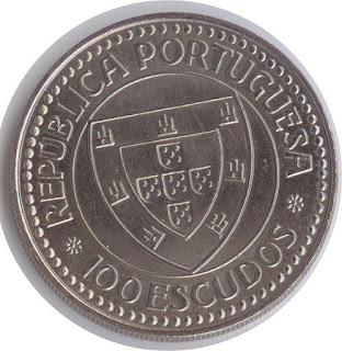 Moneda portuguesa 100 escudos velero    cabo bojador portugal coin 100 escudos Mnze Portugals Segelschiffes pice du Portugal  voilier imagen del velero 