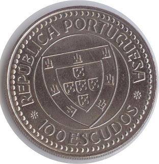 Moneda portuguesa 100 escudos velero Монета португалии эскудо cabo bojador portugal coin 100 escudos Münze Portugals Segelschiffes pièce du Portugal  voilier imagen del velero