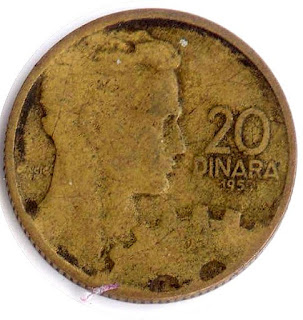 Нумизматика монета Динар Югославия 20 Dinara Ancient coin Yugoslavia ancienne pièce altertümliche Münze moneda antigua