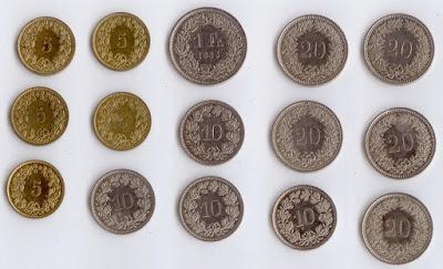 швейцарские монеты на продажу франки, рапы, сантимы, чентезимо