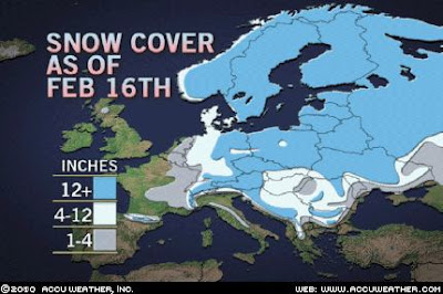 >Europe abnormally snow covered (and cold!)