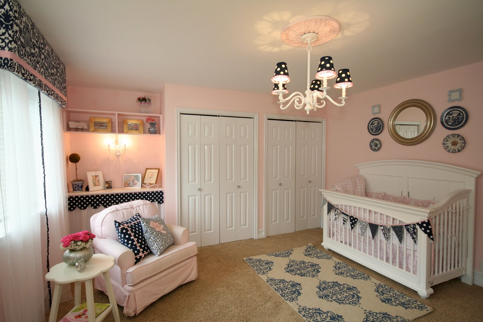Pink and Navy Nursery Design Dazzle ~ Quarto Rosa Para Bebe