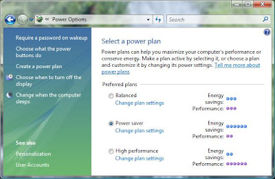 Windows Vista Power Options Control Panel