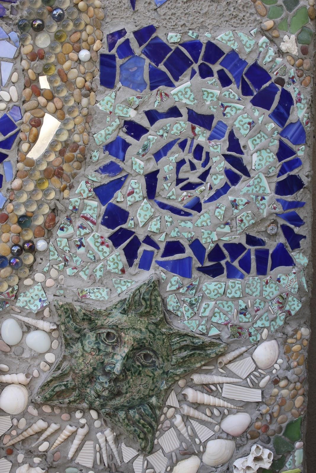 My diy outdoor mosaic shower laguna dirt for Garden wall mosaic designs