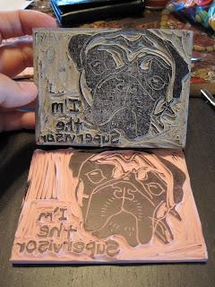 Boginkas basket: rubber stamping vs. linoleum carving