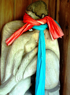 Wooden statue, Mara Kannon Shrine, Tsuyazaki, Kyushu