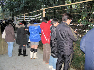 Tying sacred lots in Meiji Shrine.