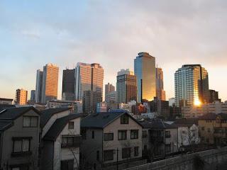 Nishi Shinjuku skyscrapers seen from Nakano Sakaue, Nakano ward.