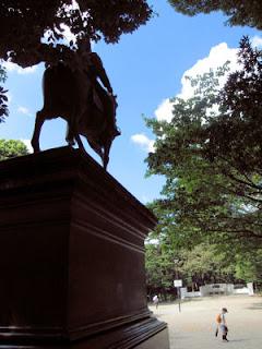 Equestrian statue in Arisugawa-no-miya Memorial Park, Tokyo .