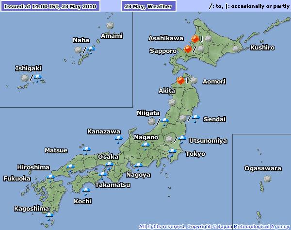 Nagoya Japan Weather Map