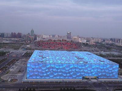 View of the Water Cube and Olympic Stadium Beijing