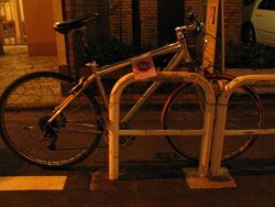 Bike with no parking notice.