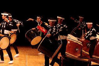 Kodo drummers in concert.