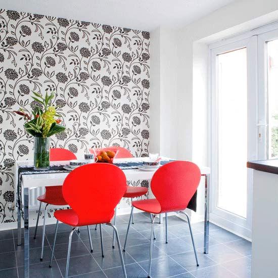 13 salas de jantar para o seu ap compacto casa de designer for Wallpaper feature wall ideas dining room