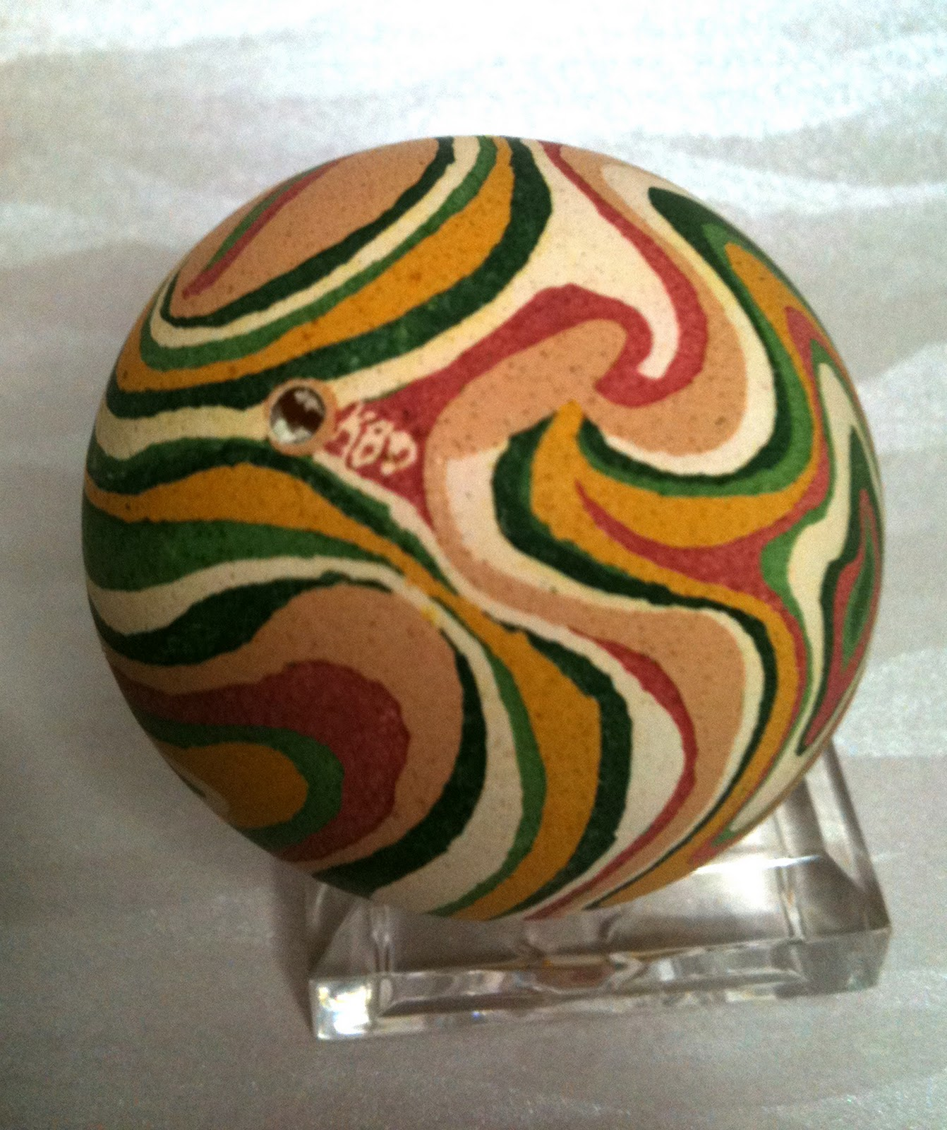 Swirling Colors Agate Pysanky in Brown, Yellow, Green and Terra Cotta