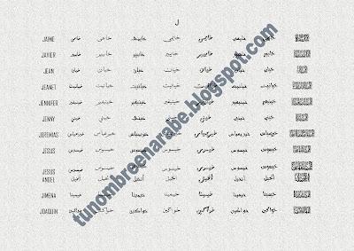Los nombres de JAIME,  JAVIER,  JEAN,  JEANET,  JENNIFER,  JENNY,  JEREMIAS,  JESUS,  JESUS ANGEL,  JIMENA,  JOAQUIN escritos en árabe